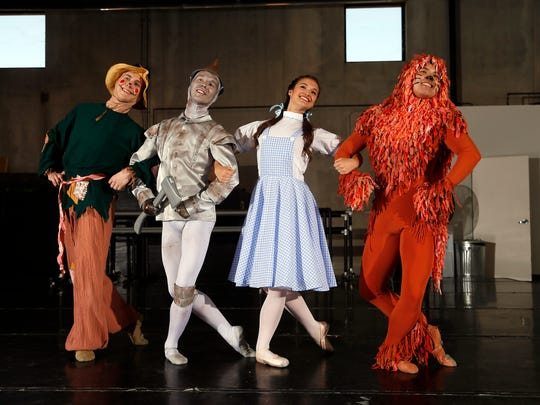 """Devin Tokarski, Ashton Plummer, Jacque LeWarne and Kiyota Nomura rehearse for """"The Wizard of Oz"""" at the Ballet Des Moines studio in Valley Junction. The show hits the Des Moines Civic Center on April 4."""