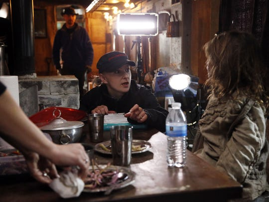 """Director Agnes Baginska talks with Sage Jarmosco, 8, of Fairfield before shooting a scene for """"Last Tree Standing"""" on Monday."""
