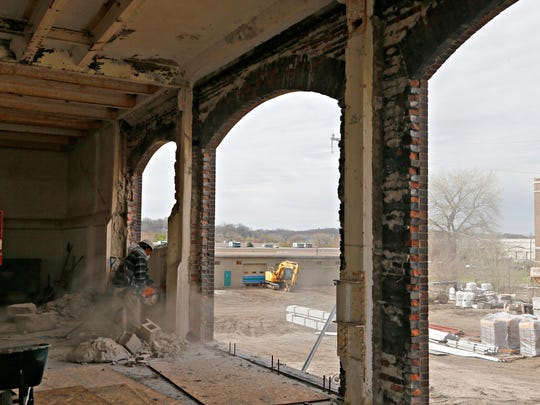 Construction is under way at 300 Martin Luther King Jr. Parkway. Eychaner said the corner building should be ready for tenants at the end of summer.