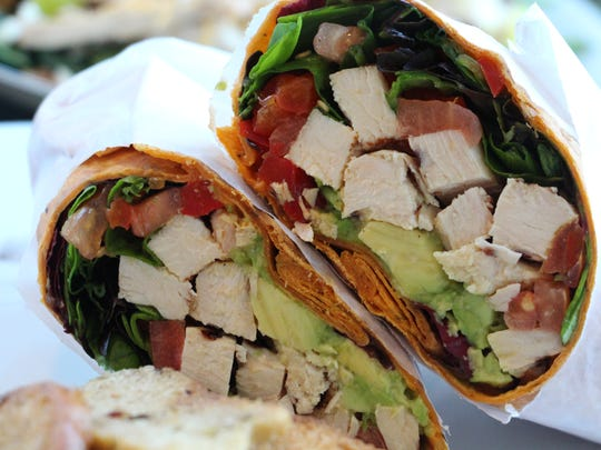 California Wrap with grilled chicken and avocado at Healthy & Delicious in Morris Plains.