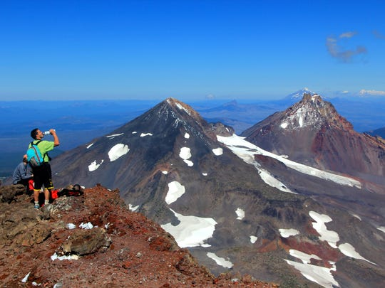 The view from the summit of South Sister is among the most dramatic sights in Oregon. It showcases both Middle Sister and North Sister.