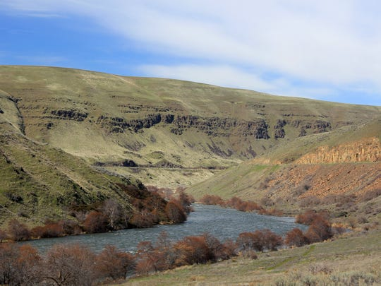 The lower Deschutes River Trail follows an old railroad bed into the Eastern Oregon canyon. It can be hiked, biked or explored via horseback.