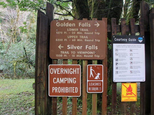 The trailhead is seen at Golden and Silver Falls State Natural Area east of Coos Bay.
