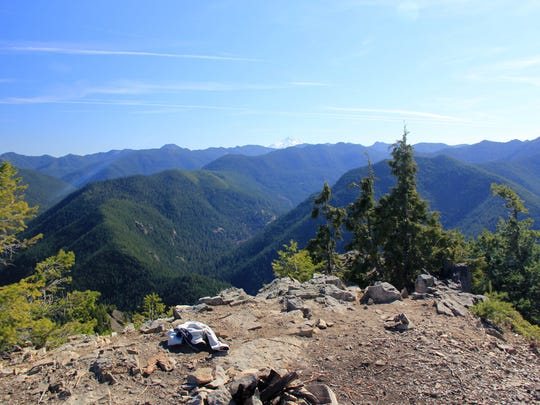 The former site of a fire lookout on Henline Mountain provides great views of the surrounding mountains in the Opal Creek Wilderness.