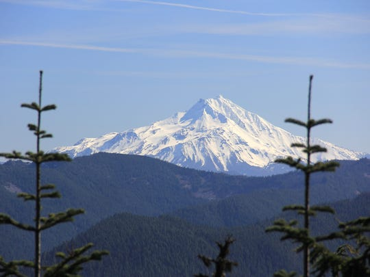 A view from the summit of Henline Mountain showcases Mount Jefferson in the Opal Creek Wilderness.