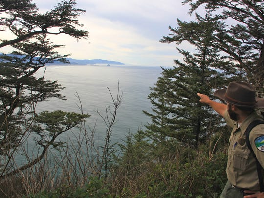 Oregon state park ranger Travis Korbe points out an area where whales might be spotted from the Cape Trail at Cape Lookout State Park south of Tillamook.