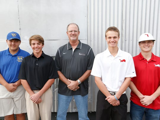Members of the All-Big Bend boys golf team, from let, Matthew Dunn (Rickards), Connor Futrell (Chiles), coach Ken Smith (Chiles), Jordan Jones (Leon) and Austin Newell (Leon).