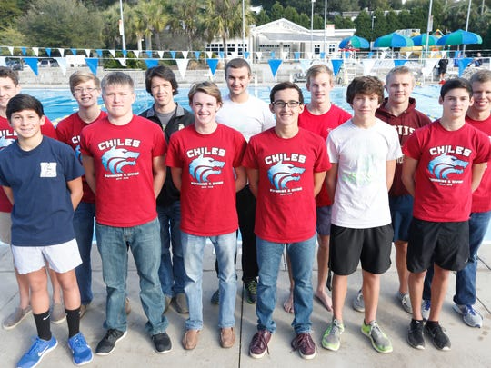 First-team All-Big Bend boys swimming, front row, left to right, Rafi Chambasian (Maclay), Charlie Gallagher (Chiles), Brandon Chason (Chiles), Mauricio Calderón (Chiles), diver Torry Wagner (Lincoln), diver Chase Lane (Chiles). Back row, left to right, Wyatt Foote (Chiles), John Yambor-Maul (Chiles), Duncan Sutton (Lincoln), Ty Gulledge (Lincoln), Evan Wilson (Rickards), Thomas Cook (Florida High), Christopher Holmes (Chiles).