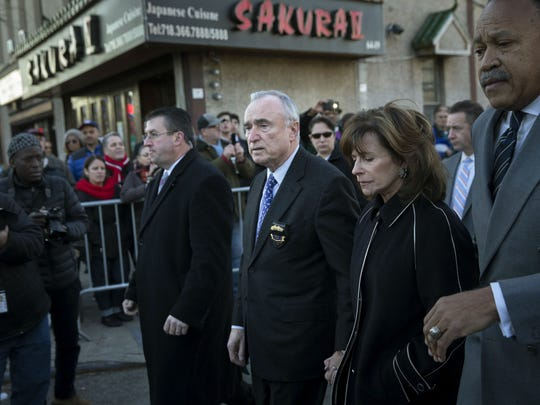 New York Police Department Commissioner Bill Bratton arrives at the wake of officer Rafael Ramos at Christ Tabernacle Church, in the Glendale section of Queens, Friday, Dec. 26, 2014, in New York.