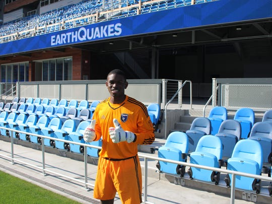 Keasel Broome, seen here after being drafted by Major League Soccer's San Jose Earthquakes.