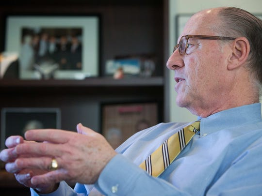 A. Richard Heffron, Delaware State Chamber of Commerce president in his Wilmington office as he talks about the state of the economy.