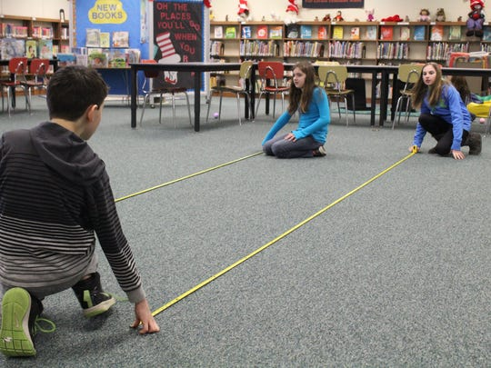A group of Port Edwards students measured how far their sphero traveled.