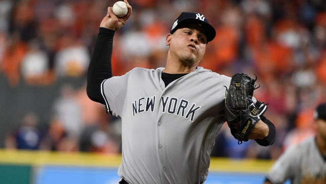 New York Yankees relief pitcher Dellin Betances throws during the eighth inning of Game 6 of baseball's American League Championship Series against the Houston Astros Friday, Oct. 20, 2017, in Houston. (AP Photo/Eric Christian Smith)