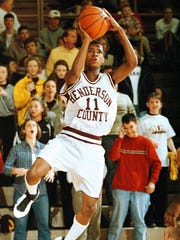 Henderson County's Tim Barnes puts up a shot during the 1999 Sixth District Tournament.