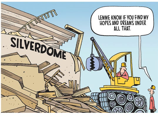The winner of our Silverdome demolition cartoon caption contest