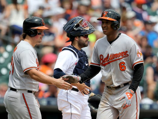 The  Baltimore Orioles' Jonathan Schoop after his three-run