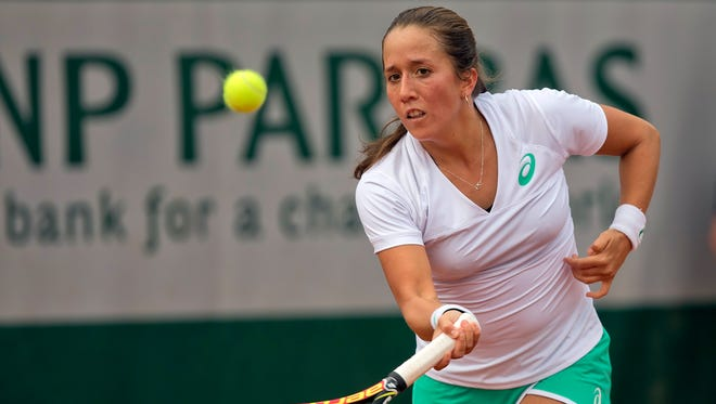 Irina Falconi (USA) in action during her match against Sesil Karatantcheva (BUL)  at Roland Garros on May 28, 2015.