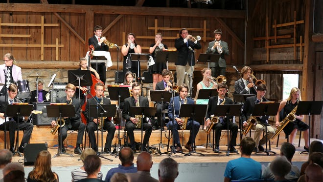 Big Band Jazz students give a concert during the 2017 season in the Dutton Concert Barn at Birch Creek Music Performance Center in Egg Harbor.