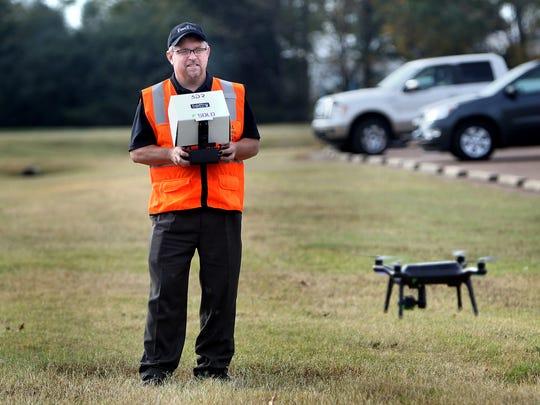 Drone operator Wesley Flint of Olive Branch.