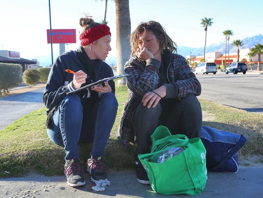 In January, Ashley Willis, left, interviews Anjetta