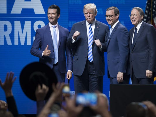 Trump rallies 'real patriots' at NRA convention, says 'We have to win the midterms'