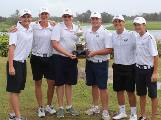 John Carroll Catholic High School's boys golf team won the St. Lucie County Championship on Saturday at Fairwinds Golf Club. Team members include (from left) Michael DiFederico, Chris Smith, Andrew Evans, Trace McGuire, Sam Sirak and Diego Rojas.