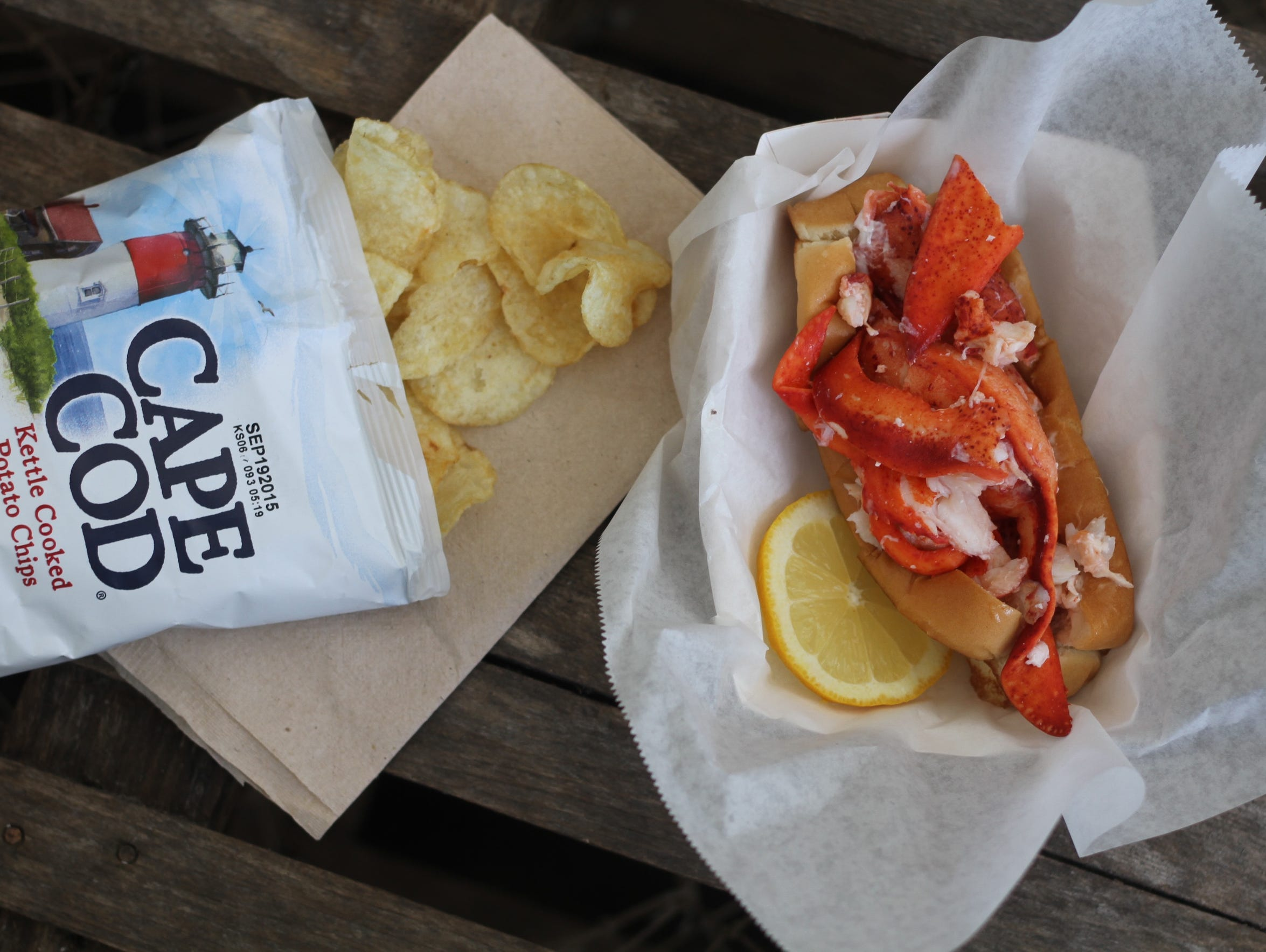 The Connecticut lobster roll features Maine lobster
