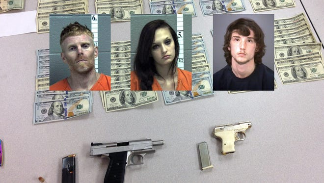 A car chase that ended in Stuarts Draft on Friday, Oct. 9, 2015 resulted in the arrest of three suspects: Charles Ramsey, Mariah Kelsey Chaplin-Cash and Ryan Varner.  Police reported that two handguns, meth, marijuana and $19,000 in cash were recovered.