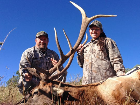 Donald R. Kemp Youth Hunting Club member Kaitlyn Eschenbrenner, 16 at the time, with her father, Scott Eschenbrenner, during her first elk hunt in the Cloudcroft, New Mexico area.