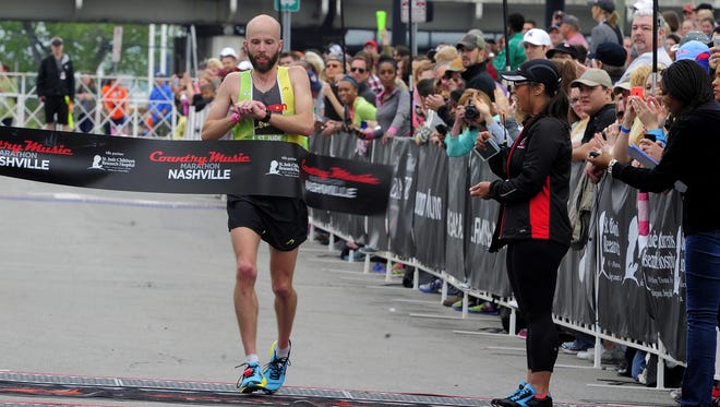 Scott Wietecha wins for his third time in a row at the St. Jude Country  Music Marathon on Saturday April 25, 2015, in Nashville.