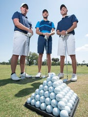 Former University of West Florida golfers Henry Westmoreland IV, from left, Christian Bosso, and Chandler Blanchet pose on the driving range at the Pensacola Country Club on Thursday, April 19, 2018.