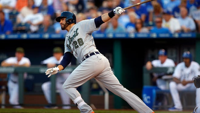 Tigers rightfielder J.D. Martinez (28) hits a home run against the Royals in the fifth inning of the Tigers' 10-7 win Monday in Kansas City, Mo.