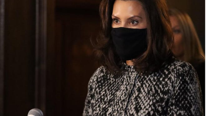 Michigan Gov. Gretchen Whitmer is pictured during Friday's news conference.