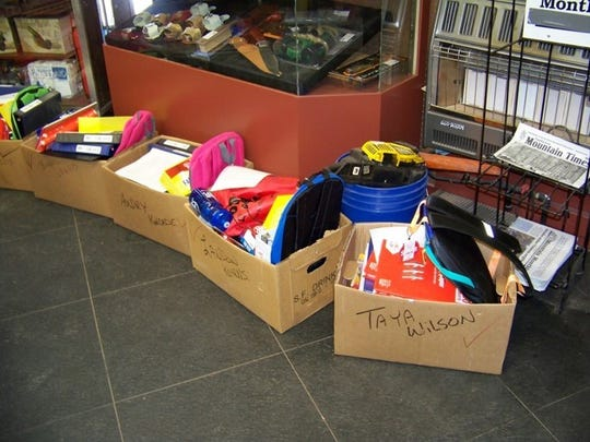 School supplies for Timberon students are organized