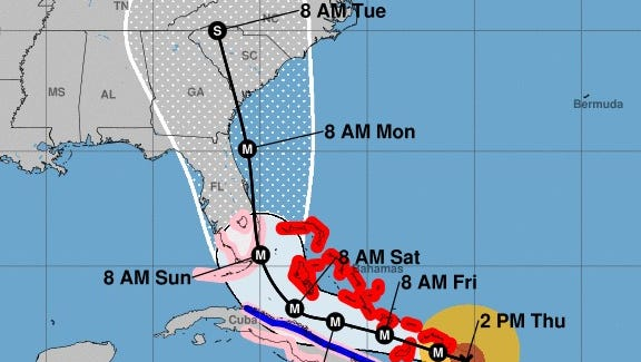 The projected path of Hurricane Irma, as of 2 p.m. Thursday.