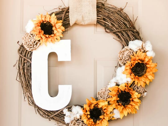 Personalize your front door with a DIY monogram wreath for fall.