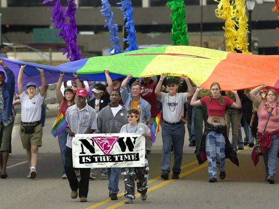 The Michigan Pride Rally progresses across the Shiawassee