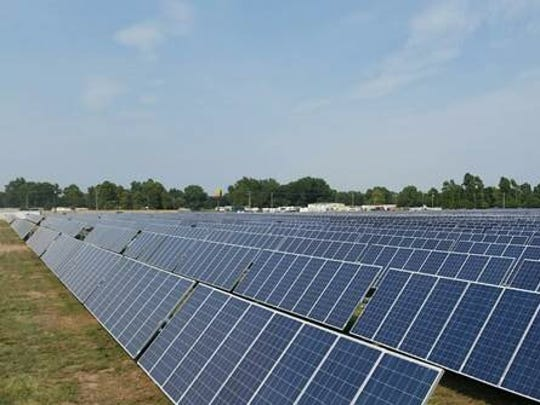 A Vermont company called groSolar has plans to install up to 70,000 solar panels like these in Delta Township.