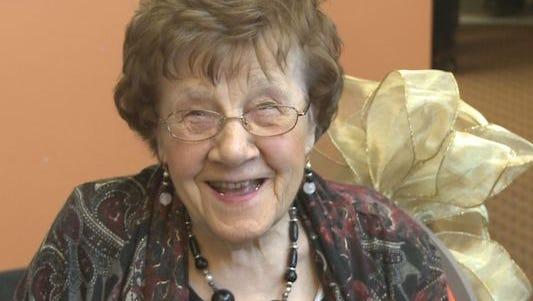 Lauretta Taggart, 100, teaches an exercise class.