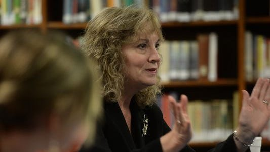 Indiana Superintendent of Public Instruction Glenda Ritz talks to a group of students, teachers and administrators Wednesday at Union County High School in Liberty.