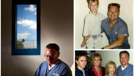 Michael Edwards in a photo taken at South Bay Correctional Facility in 2012 along with photos of his family.