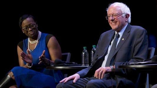 State Sen. Nina Turner, D-Ohio,, and Sen. Bernie Sanders, I-Vt., are pictured.