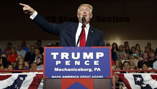 Republican presidential candidate Donald Trump speaks during a rally at Cumberland Valley High School in Mechanicsburg Monday night.