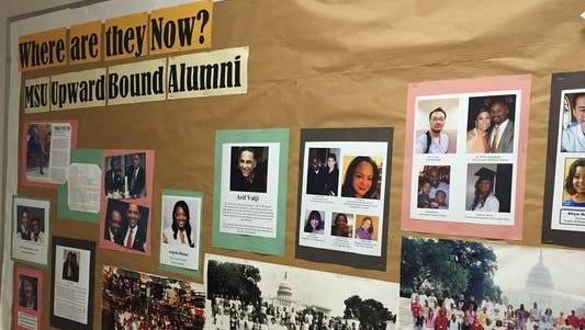 A bulletin board outside MSU's Upward Bound office highlights some of the students who have participated in the program during its more than 50 years of existence.