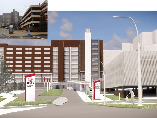 Artist's rendering of a new face to UC Medical Center, coming with $30 million in system upgrades in the next two years.