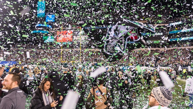 Eagles players, fans and more celebrate a NFC Championship win at Lincoln Financial Field on Sunday, January 21.
