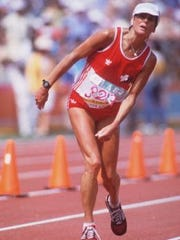 Gabriele Andersen-Scheiss crossing the finish line in 1984 Olympic marathon
