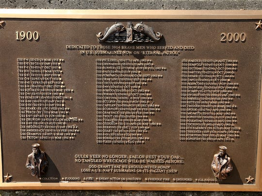 A plaque memorializing those who served an died in US submarines at Bangor.