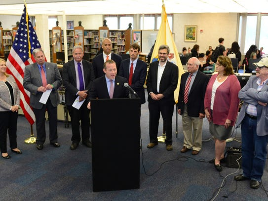 U.S. Rep. Josh Gottheimer speaking at Monday's news