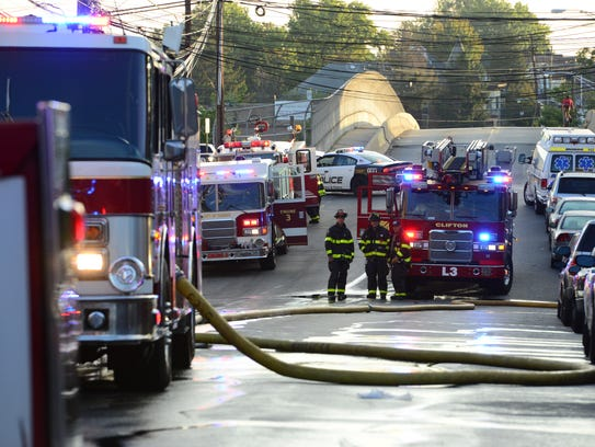 A fire destroyed a first floor apartment in a three